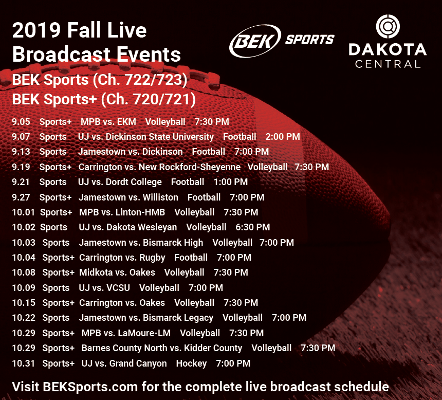 Fall Live broadcast schedule
